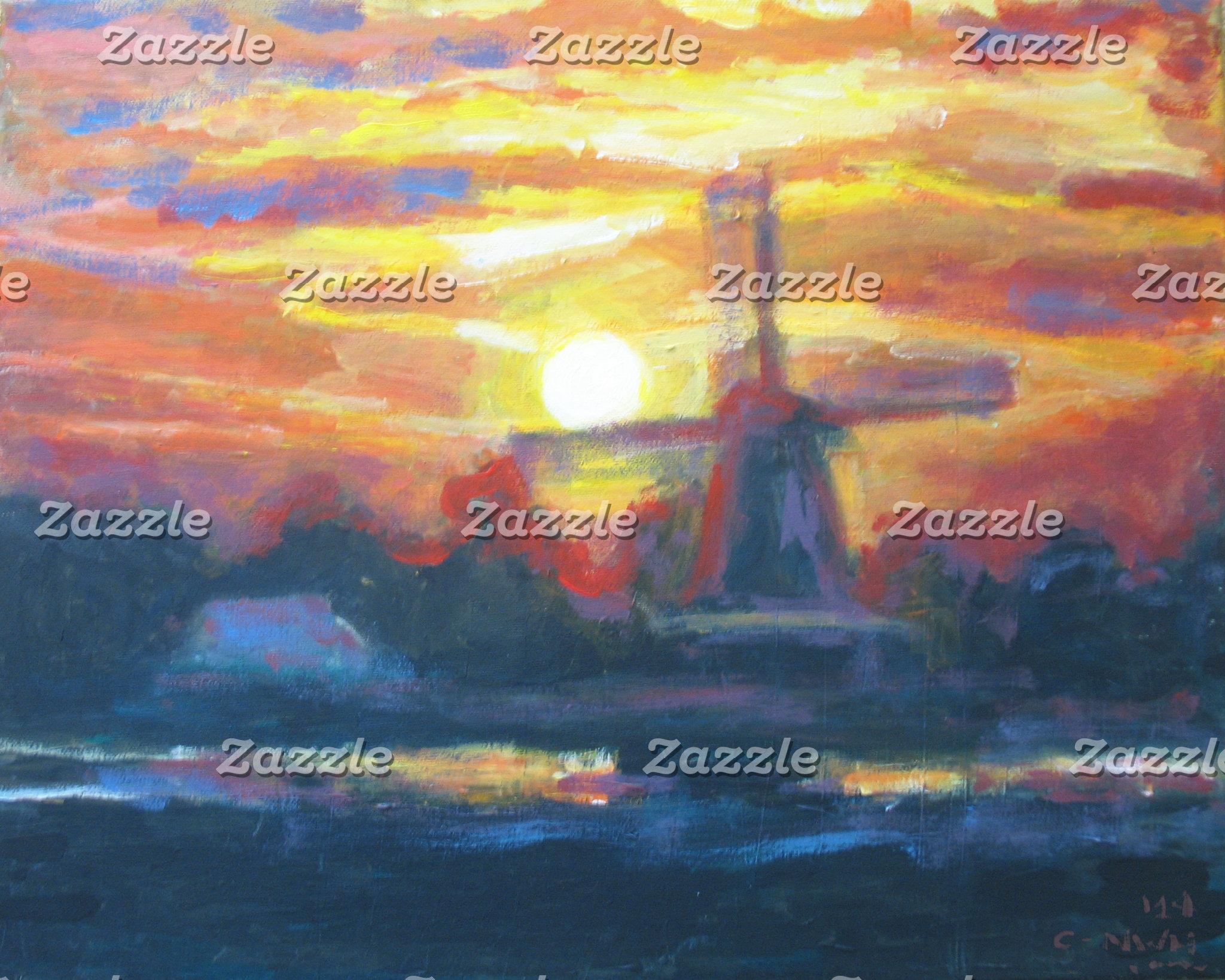 Sunset/ Sunrise Windmill Painting