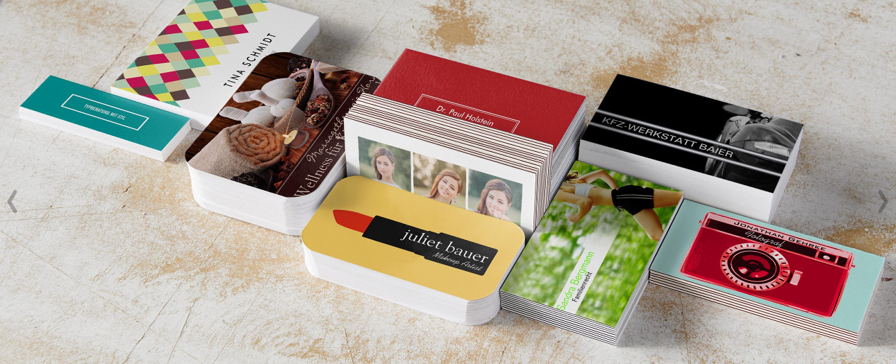 Gestaltbare Visitenkarten mit vielen Vorlagen und Motiven