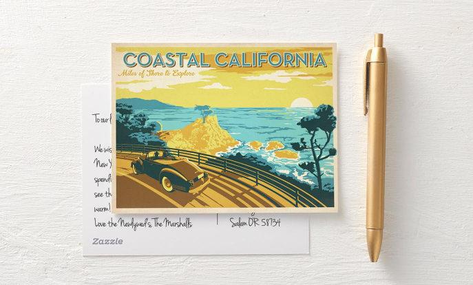 Kalifornien Vintage Reise Postkarte