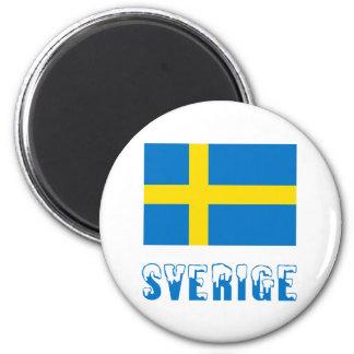 Sverige Flagge u. Name Runder Magnet 5,1 Cm