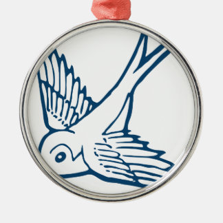 swallow schwalbe bird wings lark summer holiday rundes silberfarbenes ornament