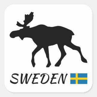 Sweden Elk and Flag Quadratischer Aufkleber