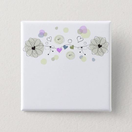 Sweet Flowers Quadratischer Button 5,1 Cm