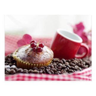 Sweet Muffin und feiner Kaffee Postkarte