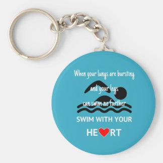 Swim mit dem motivierend Sport des Herzens blau Schlüsselanhänger