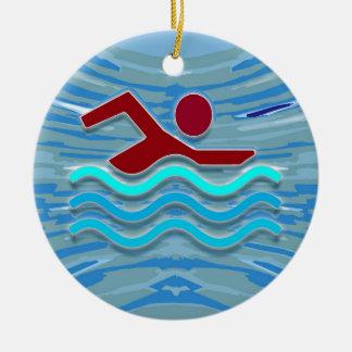 SWIM Schwimmer-Liebe-Herz-rosaroter Pool SPASS Rundes Keramik Ornament