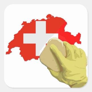 Swiss clean, Saubere Schweiz Quadratischer Aufkleber