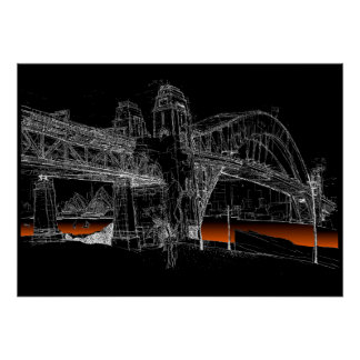 Sydney-Hafen-Brücke, Nacht Poster