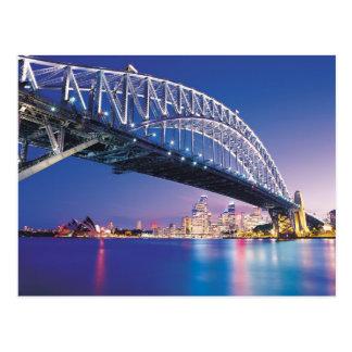 Sydney-Hafen-Brücke nachts Australien Postkarte