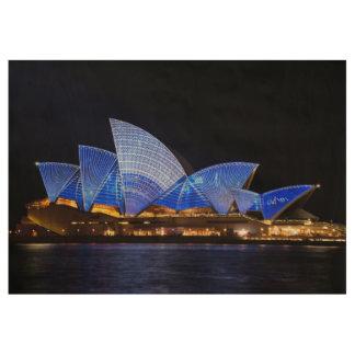 Sydney-Opernhaus-Lichtshow Holzposter