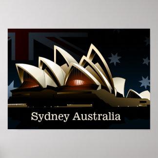 Sydney-Opernhaus nachts Poster