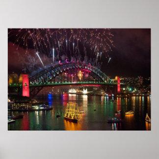 Sydney-Silvester-Feuerwerk-Druck Poster