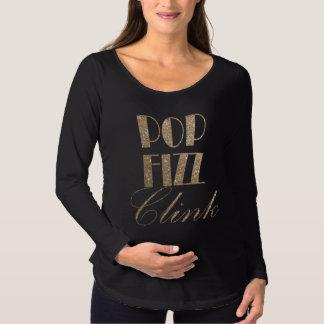 Sylvesterabend-Gold und schwarzer PopFizzClink Schwangerschafts T-Shirt