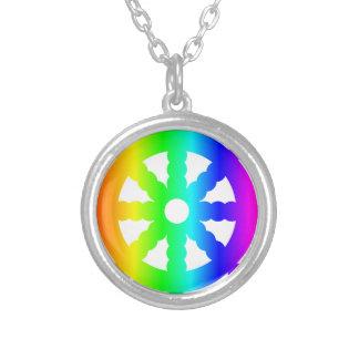 Symbol des Buddhismus-(Rad von Dharma) Versilberte Kette
