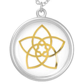 Symbol-Venus-Blume/-GOLD Halskette Mit Rundem Anhänger
