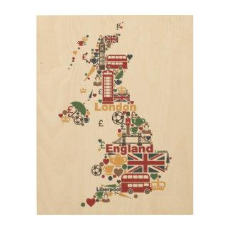 Symbole von England-Karte Holzdruck