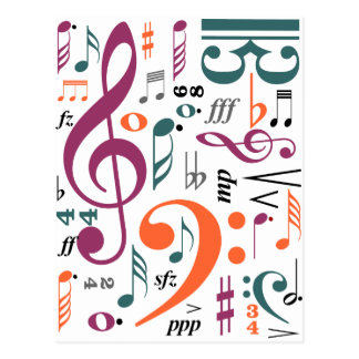 Symbole von Musik Postkarte
