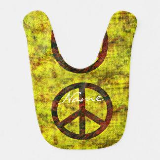 Symbolgelb Siebzigerjahre des Hippie starkes Babylätzchen