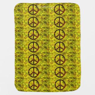Symbolgelb Siebzigerjahre des Hippie starkes Kinderwagendecke