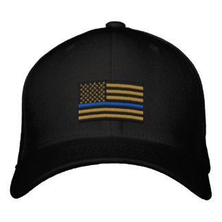 Symbolische dünne Blue Line auf Gold US Bestickte Kappe
