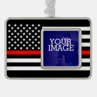 Symbolische dünne rote Linie US-Flagge Ihr Bild Rahmen-Ornament Silber