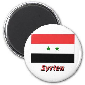 Syrien Flagge MIT Namen Runder Magnet 5,7 Cm