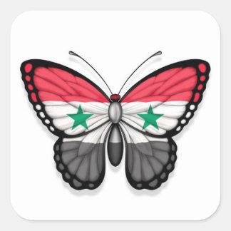 Syrische Schmetterlings-Flagge Quadrat-Aufkleber