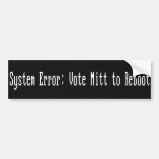 Systemfehler: Neu zu starten Abstimmungs-Mitt Autoaufkleber