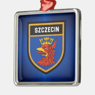 Szczecin Flagge Quadratisches Silberfarbenes Ornament