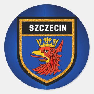 Szczecin Flagge Runder Aufkleber