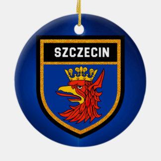 Szczecin Flagge Rundes Keramik Ornament