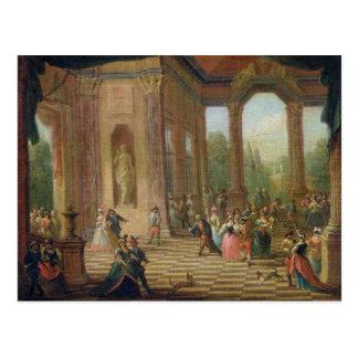 Szene an einem Maskenball Postkarte