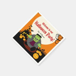 Szene Halloweens Frankenstein Vollmond des Papierservietten