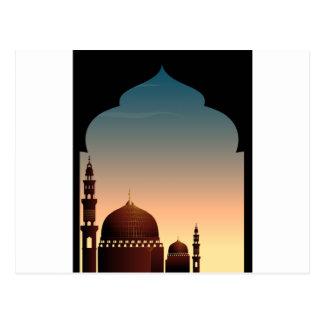 Szene mit Moschee an der Dämmerung Postkarte