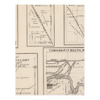T17S R21E Tulare County Abschnitt-Karte Postkarte