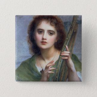 T31601 eine Dame mit Lyre (Platte) Quadratischer Button 5,1 Cm
