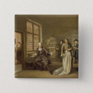 T32334 der Käufer am Kleidungs-Kaufmann, 1690 Quadratischer Button 5,1 Cm
