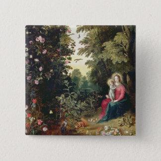 T32789 Madonna und das Kind in einer Landschaft Quadratischer Button 5,1 Cm