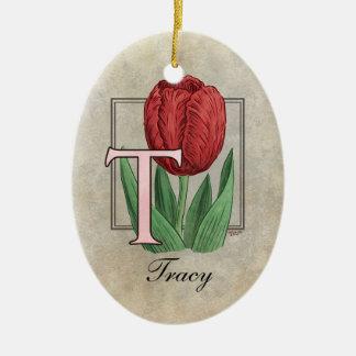 T für Tulpe-Blumen-Monogramm Keramik Ornament