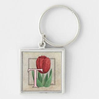 T für Tulpe-Blumen-Monogramm Schlüsselanhänger