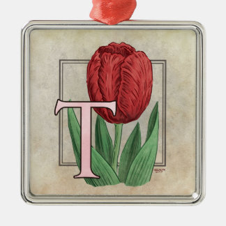 T für Tulpe-Blumen-Monogramm Silbernes Ornament