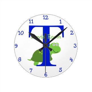 T ist für Schildkröte-und der Travis-Kinder Runde Wanduhr