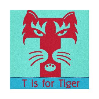 T ist für Tiger Galerie Falt Leinwand