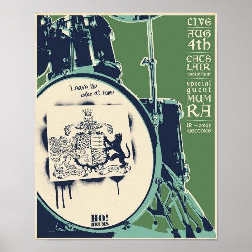 T-Katzen Konzertplakat - Grün Posterdruck