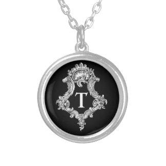 T-Monogramm-Initiale Halskette Mit Rundem Anhänger