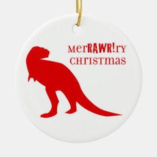 T-rex MerRAWRry Weihnachten Keramik Ornament