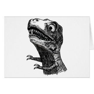 T-Rex Raserei Meme - horizontale Gruß-Karte Grußkarte