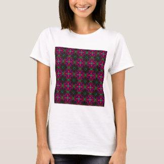 T - Shirt - lila Rot des Fraktal-Musterrosa-Grüns