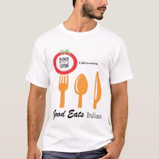 T - Shirt-Schablonen-lässiger speisender Italiener T-Shirt