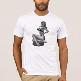T_Shirts Schwarz-weißes Button herauf Mädchen (2) T-Shirt